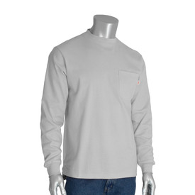 PIP Long Sleeve HRC 2 - CAT 2 FR 100_ Cotton T-Shirt - Long sleeve light gray shirt with front pocket and elastic fabric wrists.