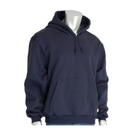PIP Flame Resistant HRC 2 Pullover Fleece Hoodie Sweatshirt - Navy blue pullover hoodie sweatshirt with large front pocket and drawstring hood.