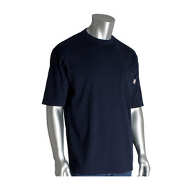 PIP Short Sleeve HRC 2 - CAT 2 FR 100_ Cotton T-Shirt - Navy blue short sleeve work shirt with front pocket.