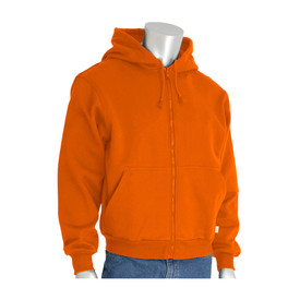 PIP Warm Fleece FR HRC 2 Font Zipper Hoodie - Bright orange front zipper hoodie sweatshirt with front pockets, elastic fabric wrists, and drawstring hood.