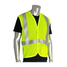 PIP ASNI 2 Flame Resistant Lime Mesh Hook & Loop Vest - High visibility yellow mesh Velcro vest with reflective strips.