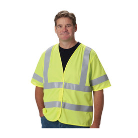 PIP FR Treated Class 3 Solid Hook & Loop Closure Vest - Yellow high visibility safety short sleeve vest with hook and loop closure and silver reflective strips over the shoulders and two strips around the waist.