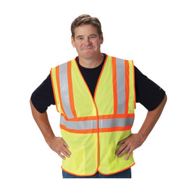 PIP 2-Tone Class 2 FR Treated Mesh 2 Pockets Safety Vest - Yellow high visibility mesh hook and loop closure safety vest with contrasting orange trim and large orange and reflective silver strips over the shoulders and around the chest.