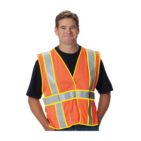 PIP Expandable FR Treated Mesh Universal Size Safety Vest - Orange high visibility mesh hook and loop closure safety vest with contrasting yellow trim and reflective silver strips around the waist and over both shoulders.