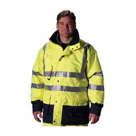 PIP Hi-Viz 7 in 1 Class 3 Waterproof Lined Jacket - High visibility thermal coat, yellow with silver reflective strips around the waist, chest and over the shoulders, with front zipper, front pockets and buttoned storm flap.