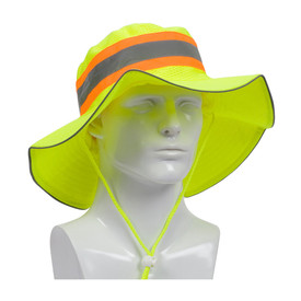 PIP Hi-Viz Yellow Ranger Style Safety Hat - High visibility yellow and orange ranger safety what with adjustable chin strap and reflective strip.