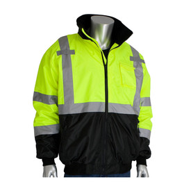 PIP Hi-Viz Waterproof Zip Out Fleece Liner Bomber Jacket - High visibility yellow safety jacket has contrasting black bottom and reflective silver strips across the chest, over the shoulders, around the elbows and forearms. With front zipper, zippered front pockets, open collar showing black interior, and mic tabs on each shoulder.