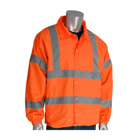 PIP Class 3 Lightweight Drawstring waist Wind Breaker Jacket - High visibility orange collared jacket with front buttons and reflective strips around the waist, chest, wrists, elbows, and over the shoulders.