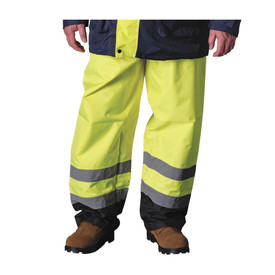 PIP Waterproof Hi-Viz Safety Pants Class E - High visibility yellow safety work pants with two silver reflective strips on shins, and contrasting black bottoms.