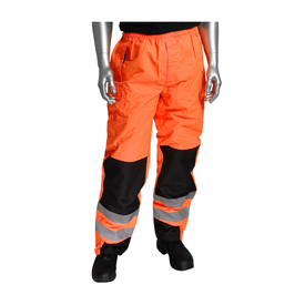 PIP Waterproof Class E Nylon Lined Ripstop Hi-Viz Pants - High visibility orange safety work pants with elastic waist and two reflective strips on shins, with contrasting black knee areas.