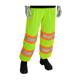 PIP Mesh Hi-Viz Class E Safety Pants - High visibility yellow safety work pants with drawstring waist and two silver on orange reflective strips on the legs.