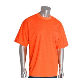 PIP Sort Sleeve NON-ANSI Lightweight T-Shirt - High visibility orange short sleeve shirt with front pocket and elastic fabric wrists.