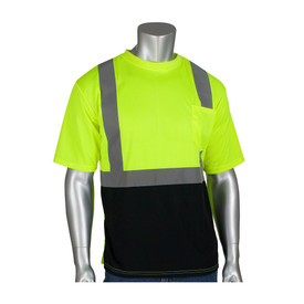 PIP Hi-Visibility Class 2 Crew Neck Short Sleeve T-Shirt - High visibility yellow safety work short sleeve shirt with reflective strips around the waist and over the shoulders, with a contrasting black bottom.