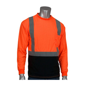 PIP ANSI 2 Hi-Viz Long Sleeve Construction T-Shirt - High visibility orange and black long sleeve shirt with front pocket, reflective strips over the shoulders and around the waist, and elastic fabric wrists.