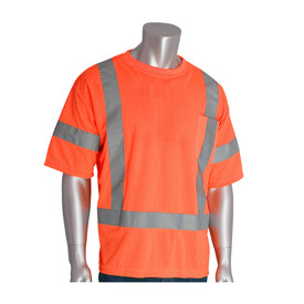 PIP ANSI Class 3 Crew Neck 2 Inch Tape Short Sleeve T-Shirt - High visibility orange short sleeve safety work shirt with front chest pocket and reflective strips across the chest and around the waist and arms.