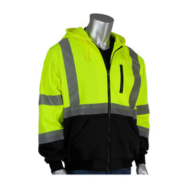 PIP Class 3 Front Zipper Hoodie Sweatshirt - High visibility yellow front zippered safety work sweatshirt with hood, front pockets, and reflective strips around the waist, elbows, arms, and over the shoulders.