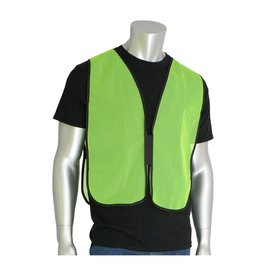 NON-ANSI Hi-Viz Mesh Hook & Loop Safety Vest - Yellow mesh hook and loop closure safety work vest with black trim.