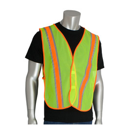 PIP 2 Tone NON-ANSI Mesh Hook & Loop Safety Vest - Bright yellow and orange high visibility mesh hook and loop closure safety work vest with reflective strips.