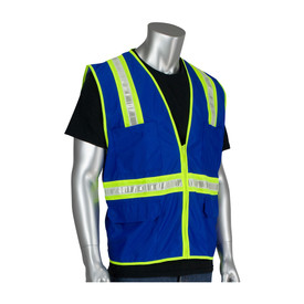 PIP NON-ANSI Surveyor Blue & Red Safety Mesh Vest - High visibility blue mesh and silver on yellow reflective strips around the waist and over the shoulders, front zipper safety vest with front pockets.