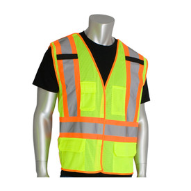 PIP Class 2 Breakaway 2 Tone CSA X Back Hook & Loop Vest - High visibility yellow mesh safety work vest with silver on orange reflective strips across the waist and over the shoulders, with hook and loop closure, front pockets and two mic tabs.