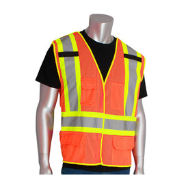 PIP Breakaway Class 2 Mesh 3 Pockets Safety Vest - High visibility orange mesh safety work vest with silver on yellow reflective strips across the waist and over the shoulders, with four front pockets and two mic tabs.