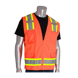 PIP 2 Tone Class 2 Surveyors 11 Pockets Safety Vest - High visibility orange front zippered safety vest with front pockets and silver on yellow reflective strips around the waist and over the shoulders, with two mic tabs.