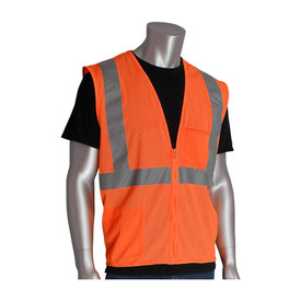 PIP Value Mesh 2 Pocket Class 2 Safety Vest - High visibility orange mesh zipper closure safety vest with front pockets and reflective strips around the waist and over the shoulders.