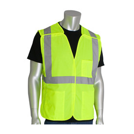 PIP ANSI 2 Mesh Breakaway 3 Pocket Safety Vest - High visibility yellow mesh hook and loop closure safety vest with front pockets and reflective strips around the waist and over the shoulders.