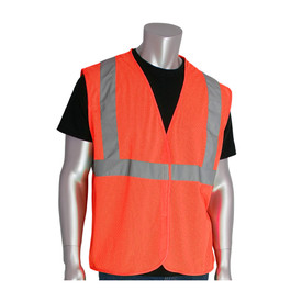 PIP Breathable Hook & Loop Value Class 2 Mesh Vest - High visibility orange mesh hook and loop closure safety vest with reflective strips around the waist and over the shoulders.