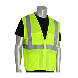 PIP Hook & Loop Value Class 2 Mesh 4 Pockets Vest - High visibility yellow mesh zippered safety vest with four front pockets and reflective strips around the waist and over the shoulders.