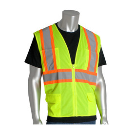 PIP 6 Pocket Class 2 Mesh 2 Tone Zipper Safety Vest - High visibility yellow and orange mesh safety vest with pockets, zipper, and reflective strips around the waist and over the shoulders.