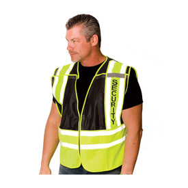 PIP Public Safety Breakaway Mesh Zipper Closure Vest ANSI 2 - High visibility yellow and black security vest with reflective strips around the waist and over the shoulders, with security lettering vertically on left shoulder, shown on model.