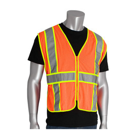 PIP Class 2 Expandable 2 Tone Mesh Safety Vest - High visibility orange and yellow mesh zippered vest with reflective strips around the waist and over the shoulders.