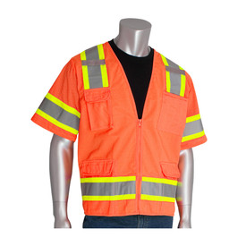PIP Class 3 Surveyor 2 Tone Solid Mesh 10 Pockets Vest - High visibility orange front zipper closure safety vest shirt with short sleeves, pockets, and reflective strips around the chest, arms, and over the shoulders.
