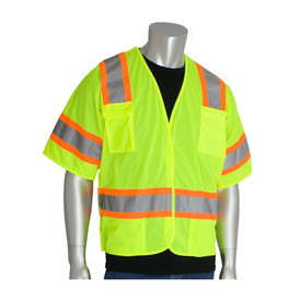 PIP Class 3 Breakaway Mesh Hook & Loop Safety Vest - High visibility yellow hook and loop closure safety vest with orange bordered reflective strips around the chest, arms, and over the shoulders.