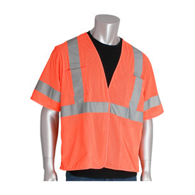 PIP 4 Pocket Class 3 Mesh Hook & Loop Safety Vest - High visibility orange mesh hook and loop closure safety vest shirt with reflective strips around the chest, arms, and over the shoulders and pockets.