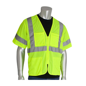 PIP ANSI 3 Mesh 4 Pocket Zipper Closure Safety Vest - High visibility yellow zippered safety vest shirt with short sleeves, pockets, and reflective strips around the chest, arms, and over the shoulders.