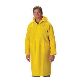 PIP FR Treated 48 Inch Yellow PVC/Poly Rain Coat - Long yellow rain coat with front buttons, drawstring hood, pockets, and open collar, shown on model.
