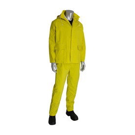 PIP FR Treated PVC/Poly 2 Piece Rain Suit (Jacket & Pants) - Short yellow rain jacket and rain pants with drawstring hood, front pockets, and front buttons.