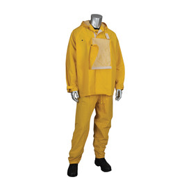 PIP FR Treated 2 Piece Rain Suit ( Bib Overall & Jacket) - Yellow rain jacket with drawstring hood, shroud for face shield, adjustable wrists, and yellow rain pants.