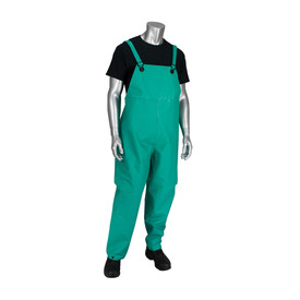 PIP FR Treated Chemical Green Bib Overall - Green overall cover pants with shoulder straps and button cuffs around ankles.