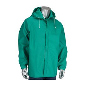 PIP FR Treated Green Chemical Hooded Jacket - Green jacket with drawstring hood and front zipper.