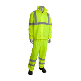 PIP Class 3 Lightweight Waterproof 2 Piece Rain Suit - High visibility yellow rain jacket and pants with open collar and reflective silver strips across the chest, around the elbows, knees, and ankles, with strips going over the shoulders.