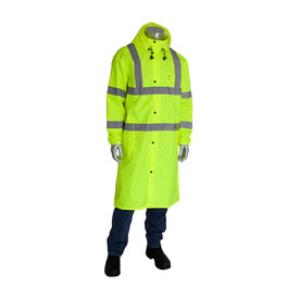 PIP Hi-Viz Class 3 Waterproof 48 Inch Rain Coat - High visibility long front buttoned rain coat with drawstring hood, closed collar, and reflective strips around the waist, wrists, chest, elbows, and over the shoulders.
