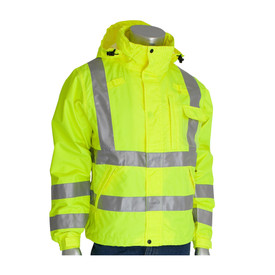 PIP Heavy Class 3 Hi-Viz Water Tight Rain Jacket - High visibility rain jacket with drawstring hood, adjustable wrists, closed collar, with two reflective strips around the body, two strips around the arms, and strips over the shoulders.