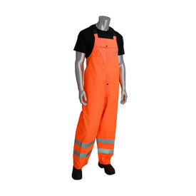 PIP Heavy Duty Hi-Viz Waterproof Class E Rain Bib Overalls - High visibility orange overall cover pants with front pocket, reflective strips around the shins, and black clip shoulder straps.