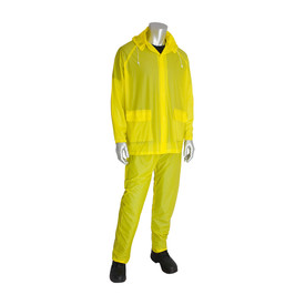 PIP PVC Waterproof Hooded Rain Jacket & Elastic Pants - Bright yellow hooded rain jacket with front pockets, elastic waist pants, and drawstring hood.