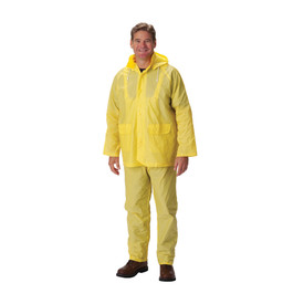PIP Yellow PVC Detachable Hood Jacket & Bib Overalls - Bright yellow hooded rain jacket with front pockets, elastic waist pants, and drawstring hood, shown on model.