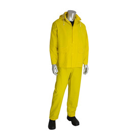 PIP Premium Storm Flap Rain Jacket & Snap Ankles Bib Overall - Bright yellow rain coat with overall rain pants, drawstring hood, and front pockets.