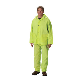 PIP Hi-Viz Yellow PVC Vented Back Rain Jacket & Bib Overall - High visibility yellow rain coat and pants with drawstring hood and pockets.